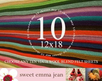 12x18 Wool Felt Sheets - Choose any TEN wool felt sheets