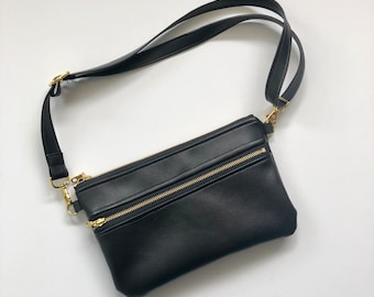 Ready to ship! Black faux leather fanny pack with floral interior