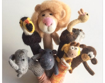 "Finger puppets animals ""Safari /"" animals-puppets to fingers ""Safari"" - 7 puppets knit and felted wool"