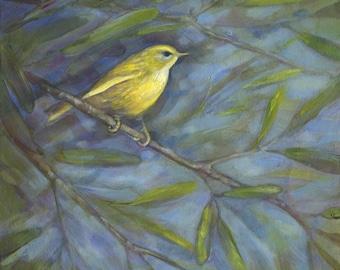 Yellow Warbler, Original Oil Painting, Bird Art, Bird Painting, Yellow Bird, Bird Decor, Warbler, Songbird Art, Bird Wall Decor