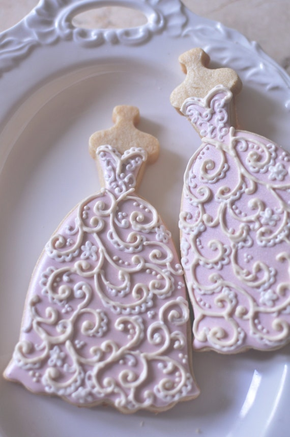 10  Bridal Gown Cookies-Lace Wedding Dress Cookies,  Bridal Shower Cookies,
