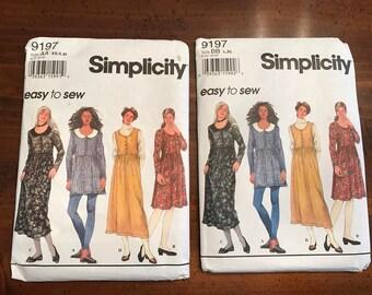 Simplicity 9197 Easy to Sew Jumper, Dress or Top, UNCUT, XS, S, M or L, XL