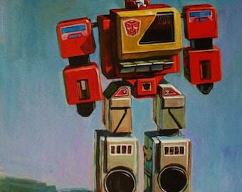 "8""x10"" Transformers ""Blaster"" Vintage Toy Giclee Print of Original Painting"