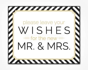 INSTANT DOWNLOAD Printable Wish Sign - Black White Gold Stripe Wedding - Guest Book Table Sign - Please Leave Your Wishes - Wish Tree Sign