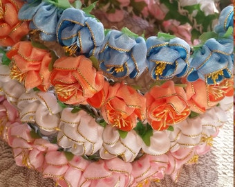 Satin and Gold Flower Crown- Choice of Colors