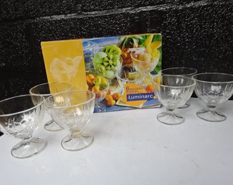 """Boxed Luminarc France """"Maldive Bubbles"""" Ice Cream Dishes x 6/Coupes a Glace/Luminarc France Glass/Dessert Bowls/Dessert Dishes/Vintage/1990s"""