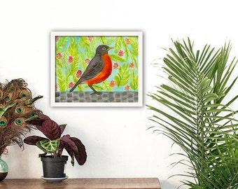 Home Decor, Wall Art, Wall Decor, Bird Print, Robin, Nature, Animal Print, Framed Wall Art
