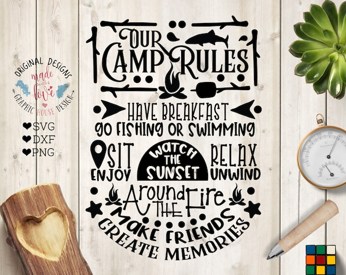 Featured listing image: Camp Rules svg, Our Camp Rules Cut File in SVG, DXF, PNG, Camp Rules Printable, Camping Rules svg, Camping svg, Campers svg, Camp svg files