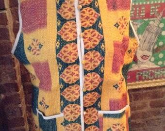 Vintage Kantha Quilted Reversible Vest XL