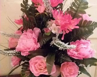 Cemetery Arrangement-Memorial Flowers-Silk Grave Decorations-Pink & White Cemetery Vase-Artificial Grave Decoration- Floral Cemetery Cone