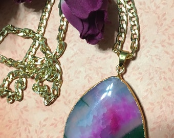 Hot Pink & Green Agate Druzy Geode Necklace, Agate Druzy Necklace, Geode Necklace, Teardrop Necklace, Mother's Day Gift