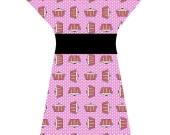 PINK CUPCAKE DRESS (handmade & custom printed fabric)