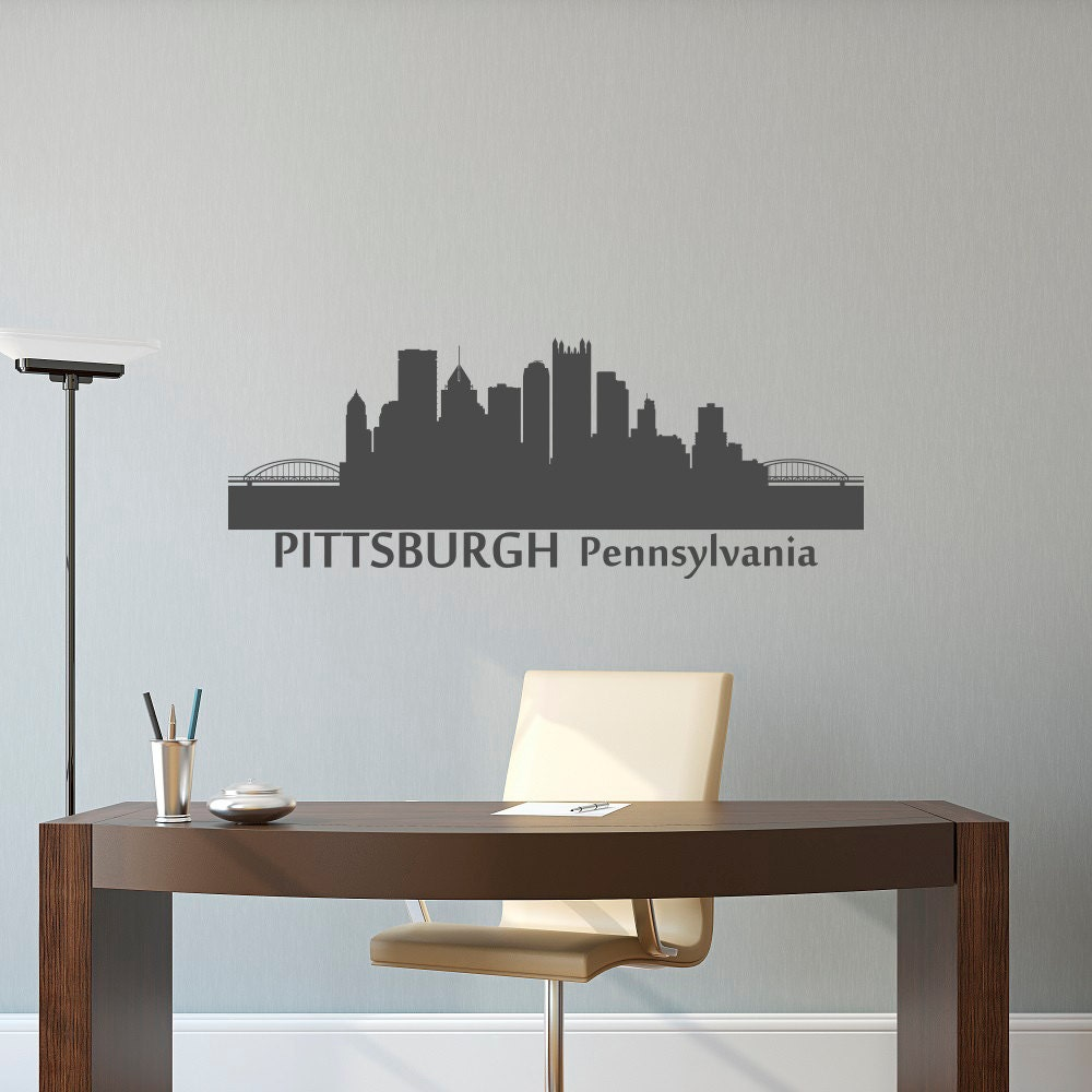 Pittsburgh Skyline Wall Decal City Silhouette Pittsburgh