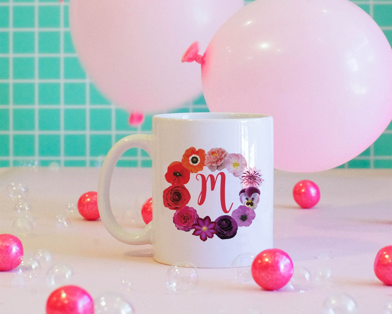 Flower Ring w/ Custom Monogram Coffee Mug Floral Mug Custom