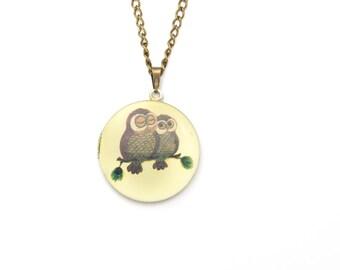 Owl Locket Necklace | Round Animal Locket | Photo Locket | Gift boxed Woodland Owl Locket |