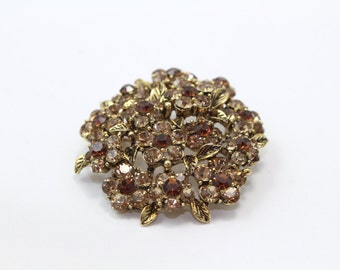 Small Round Topaz Flower Brooch with Swarovski Crystals
