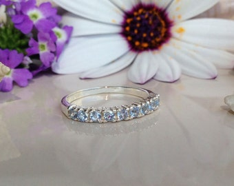 20% off- SALE! Aquamarine Ring - Tiny Ring - Stacking Ring - Gemstone Ring - Simple Ring - Slim Ring - Half Eternity Ring - March Birthstone