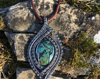 Turquoise Hand made Silver Filled Pendant