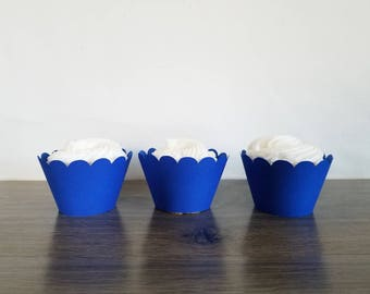 12 royal blue scallop cupcake wrappers!  scalloped cupcake wrapper Royal blue Cupcake wrappers