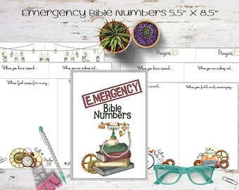 """Printable Praise & Pray """"Emergency"""" Journal Kit. """"5.5x8.5"""". 15 Days of Scripture, Colored Elements, Words and Colored Stickers."""