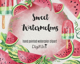 Watermelon Clipart, Hand Painted Watercolor - Fruit Clipart, Summer Wedding Invitation, Watermelon Graphics