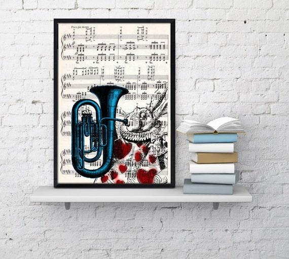 Alice in Wonderland White Rabbit Print on Vintage Music  Sheet ALW020