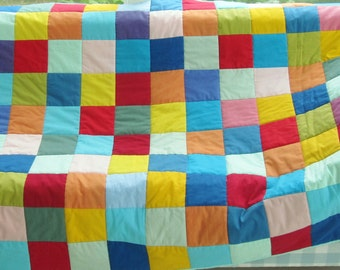 SALE * Quilt patchwork bed cover multicolor bedding throw solids modern rainbow red blue green yellow orange purple light pink kids gift