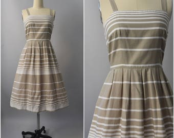 50 AND UNDER • 1970's Lanz taupe stripe sun dress • large
