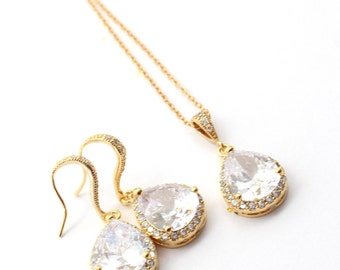 Gold Cubic Zirconia Bridal Jewelry Set, Cubic Zirconia Earrings and Necklace Set, Gold Wedding Jewelry for Bride,  Crystal Gold Jewelry Set