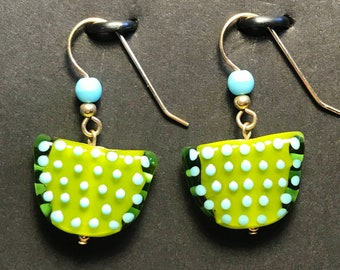 Bohemian Glass and Turquoise  Earrings