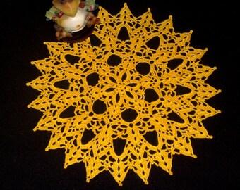 "Yellow Crochet Doily 11"" Hand crochet doilies Table decoration Housewarming gift Party decor"