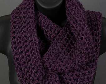Women's infinity scarf, plum scarf, ready to ship, crocheted scarf