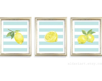 Lemon Art Prints - Lemon Wall Art - Watercolor Lemons Prints - Modern Kitchen Art - Set of 3 - Yellow and Blue Home Decor - Aldari Art