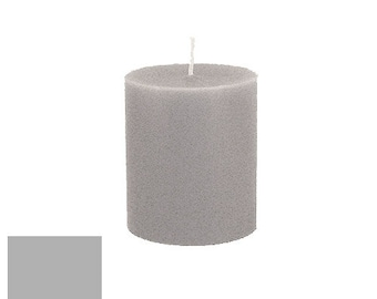 3 x 3.5 Silver Gray Classic Hand-poured Unscented Pillar Candles Solid Color