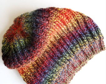 Slouchy beanie, Knit womens hat, Colorful knit beanie, Knit slouchy hat, Wool beanie, Knitted beanie, Mens slouchy beanie, Hippie beanie.