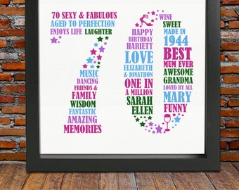 70th Birthday Gift For Her