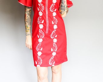 1960's Red Embroidered House Dress l S