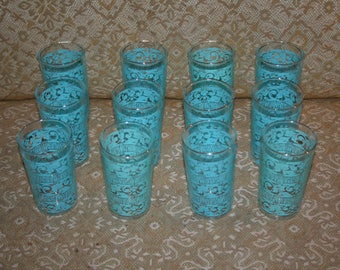 On Sale 1960s Set of Twelve (12) Mid-Century Modern Turquoise Glasses!  Ten Ounce!  Wonderful Set