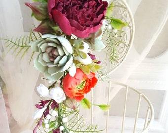 Burgundy flower crown Wine Peony headband Bridal hair  wreath Bohemian wedding Succulent headpiece Rustic