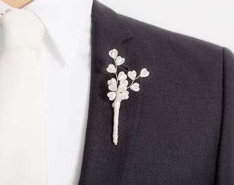 Limited Edition Mother-of-Pearl Heart Boutonniere - Pearl - White Boutonniere - Mens Boutonniere