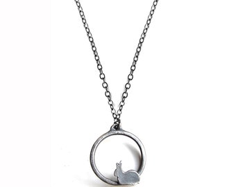 Circle Bunny Rabbit Necklace with Dark Grey Finish