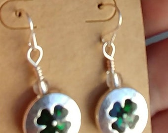 Silvertone 4 leaf clover earrings