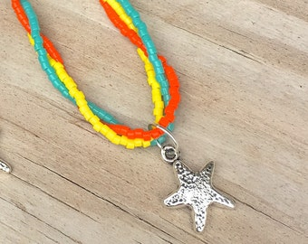 COLORFUL STARFISH ANKLET silver starfish charm Beachy anklet orange anklet beachy anklet beachy jewelry braided ankle bracelet
