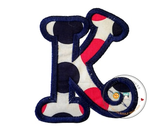 Chunky curls letter K iron on applique, Girls nautical monogram, iron on initial K, Blue and pink monogram letter K, Ready to ship
