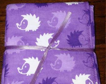Purple Hedgehog Baby Burp Cloths