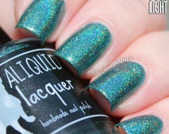 Hidden City - 5 ml mini - forest green linear holographic with gold, copper and bronze flecks - indie polish by ALIQUID Lacquer