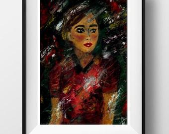 kitsch woman portrait. Original oil portrait. Oil painting woman. Oil painting abstract portrait. Abstract oil portraits. Woman oil painting
