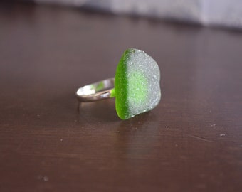 Green Seaglass Adjustable Ring