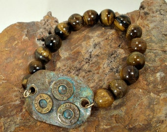 Bullet Casing Bracelet Tiger Eye Beads and Brass Casings