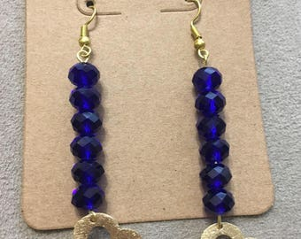 Blue Round Faceted Dangle Earrings, Gold Clover